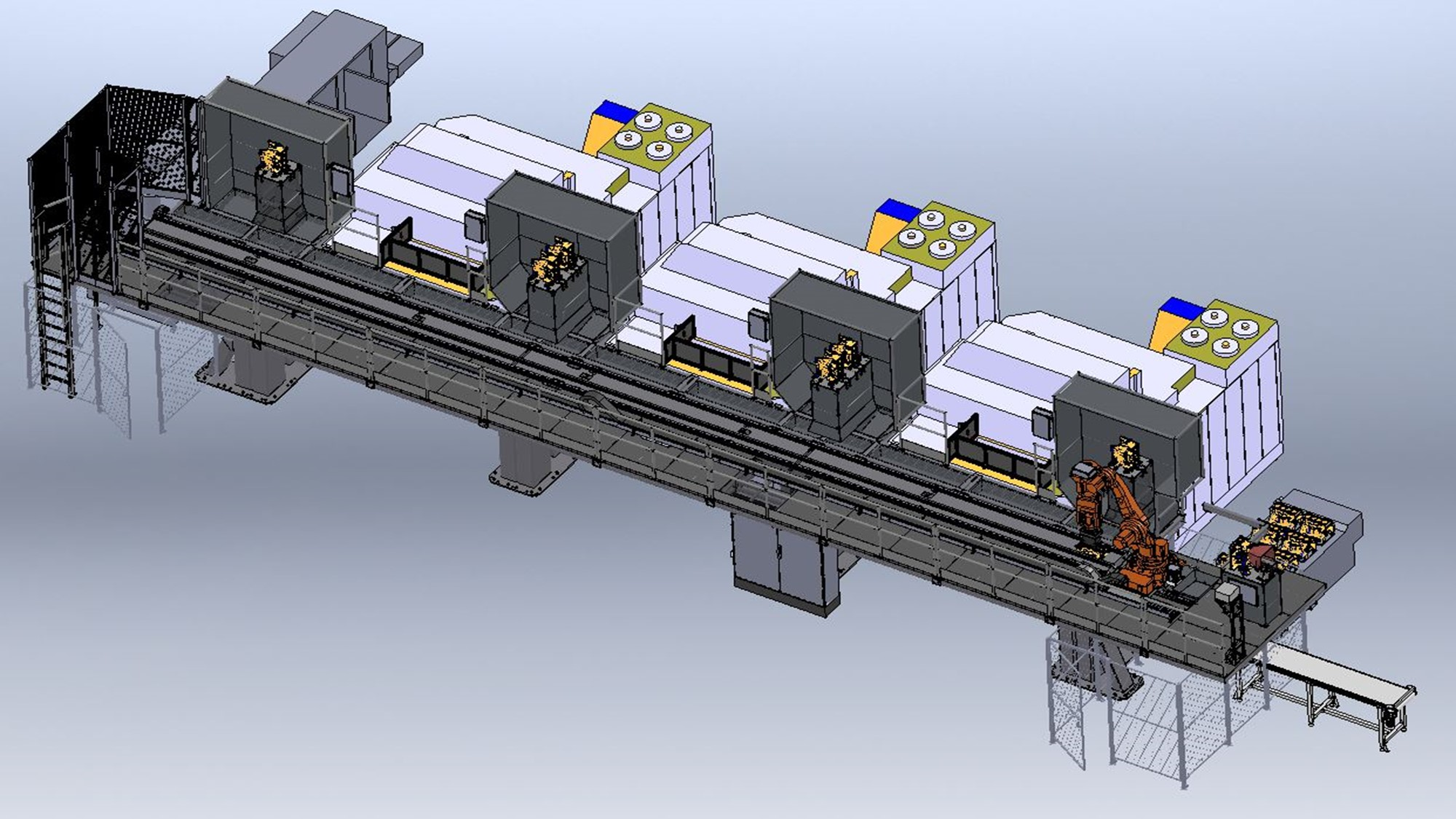 Automated cell to load/unload machining stations for engine block
